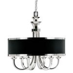 "Tuxedo 6-Light 29"" Silver Plated Metal Chandelier with Black Drum Shade 21130"
