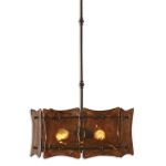 "Vetraio II Collection 3-Light 20"" Oil Rubbed Bronze Pendant with Toffee Art Glass Shade 21210"