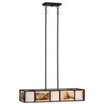 "Quarry Collection 4-Light 36"" Oil Rubbed Bronze Island Light with Ivory Linen and Polished Marble 21224"