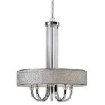"Brandon Collection 5-Light 44"" Nickel Plated Chandelier w/ Silken Champagne Liner 21233"
