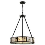 "Coslada Collection 3-Light 31"" Dark Oil Rubbed Bronze Drum Pendant with Marble Slabs 21236"