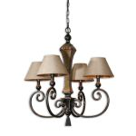 "Porano Collection 4-Light 29"" Distressed Ceramic and Metal Chandelier with Linen Shades 21241"