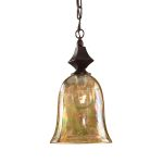 "Elba Collection 1-Light 16"" Spice Mini Pendant with Iridescent Crackle Glass 21812"