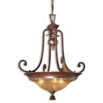 "Elba Collection 3-Light 29"" Spice Pendant with Iridescent Crackle Glass 21813"