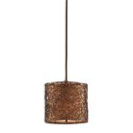 "Brandon Collection 1-Light 8"" Rustico Mini Pendant w/ Silken Bronze Liner 21855"