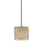 "Brandon Collection 1-Light 8"" Nickel Plated Mini Pendant w/ Champagne Taupe Liner 21856"