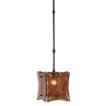 "Vetraio II Collection 1-Light 9"" Oil Rubbed Bronze Mini Pendant with Toffee Art Glass Shade 21884"