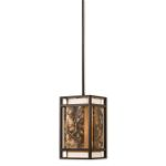 "Quarry Collection 1-Light 7"" Oil Rubbed Bronze Mini Pendant with Ivory Linen and Polished Marble 21896"