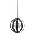 "Trofarello Collection 1-Light 19"" Matte Black Caged Pendant with Crackled Glass Globe 21918"