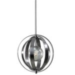 "Trofarello Collection 1-Light 19"" Polished Nickel Caged Pendant with Crackled Glass Globe 21938"