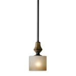 "Porano Collection 1-Light 6"" Oil Rubbed Bronze Mini Pendant with Frosted Glass Shade 21946"