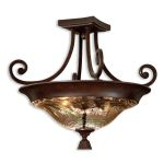 "Elba Collection 2-Light 22"" Spice Semi-Flush with Iridescent Crackle Glass 22209"