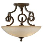 "Legato Collection 3-Light 20"" Distressed Chestnut Semi-Flush with Indian Scavo Glass Shade 22217"