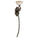 "Legato Collection 1-Light 50"" Distressed Chestnut Wall Torchier with Indian Scavo Glass Shade 22431"