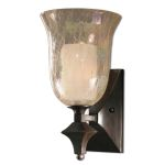 "Elba Collection 1-Light 15"" Spice Wall Sconce with Iridescent Crackle Glass 22467"