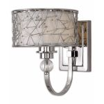 "Brandon Collection 1-Light 11"" Nickel Plated Wall Sconce w/ Silken Champagne Liner 22484"