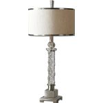 "Campania Collection 1-Light 32"" Carved Glass Table Lamp with Beige Linen Drum Shade 26762-1"