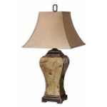 "Porano Collection 1-Light 36"" Distressed Porcelain Table Lamp with Beige Shade 26882"