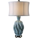 "Amoroso Collection 1-Light 31"" Blue Ceramic Lamp 27448-1"