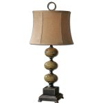 "Porano Collection 1-Light 30"" Distressed Porcelain Table Lamp with Beige Shade 27480"