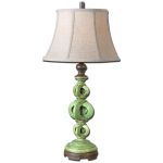 "Civita Collection 1-Light 33"" Crackled Green Table Lamp 27490"