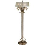 "Alenya Collection 4-Light 65"" Burnished Gold Floor Lamp with Sheer Drum Shade and Golden Teak Crystal Leaves 28412-1"