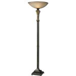 "Porano Collection 1-Light 71"" Dark Bronze Torchiere Floor Lamp with Antique Frosted Glass Shade 28874-1"