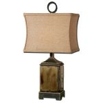 "Porano Collection 1-Light 23"" Mossy Green Table Lamp with Beige Linen Shade 29728-1"