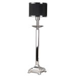 "Tuxedo 1-Light 31"" Silver Plated Metal Buffet Table Lamp with Black Drum Shade 29859-1"