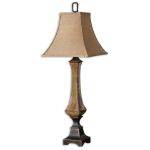 "Porano Collection 1-Light 36"" Mossy Green Porcelain Table Lamp with Beige Shade 29893"
