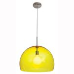 "Acrolite Collection 18"" 1-Light Brushed Steel Pendant with Yellow Acrylic Glass 23760-1C-BS/AYEL"