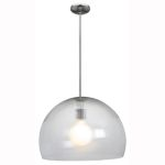 "Acrolite Collection 18"" 1-Light Brushed Steel Pendant with Clear Prismatic Acrylic Glass 23760-1R-BS/APCL"