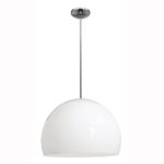 "Acrolite Collection 18"" 1-Light Brushed Steel Pendant with White Acrylic Glass 23760-1R-BS/AWH"