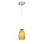 "Tali Inari Silk Collection 5"" 1-Light Brushed Steel Pendant with Amber Mist Glass 28012-2C-BS/AMST"