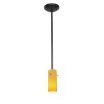 "Tali Inari Silk Collection 4"" 1-Light Oil Rubbed Bronze Pendant with Amber Glass 28030-2R-ORB/AMB"