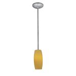 "Sydney Pearl Collection 4"" 1-Light Brushed Steel Pendant with Amber Glass 28070-1R-BS/AMB"