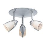 "Comet Collection 9"" 3-Light Brushed Steel Spotlight with Opal Glass 52029-BS/OPL"
