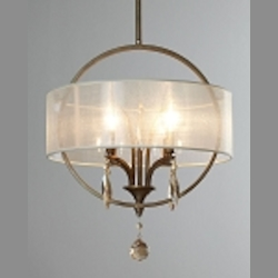 "Alenya Collection 4-Light 18"" Burnished Gold Pendant with Sheer Drum Shade and Golden Teak Crystal Leaves 21962"