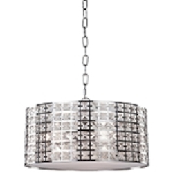 Three Light Chrome Drum Shade Pendant