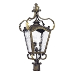 "Acadiana Collection 4-Light 26"" Castle Bronze Post Lantern with Water Glass 5783-CB"