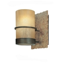 One Light Bamboo Bronze Bathroom Sconce