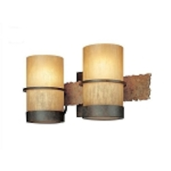 Two Light Bamboo Bronze Vanity