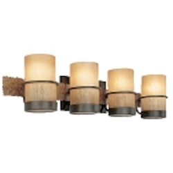 Four Light Bamboo Bronze Vanity