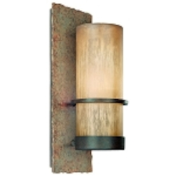 One Light Bamboo Bronze Outdoor Wall Light
