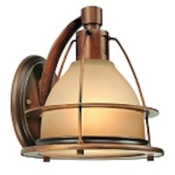 "Bristol Bay Collection 1-Light 8"" Sunset Bronze Wall Sconce with Light Amber Glass B2051SBZ"