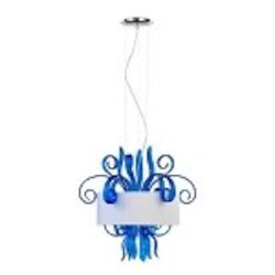 "Jellyfish 3-Light 22"" Blue Blown Glass Cassina Pendant with A White Dupioni Shade 04395"