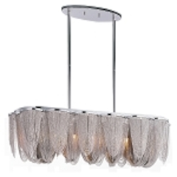 "Chantilly Collection 7-Light 39"" Linear Chandelier with Jewelry Chain 21463NKPN"