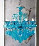"Bella Vetro 8-Light 36"" Aqua Blown Glass Chianti Chandelier 04618"