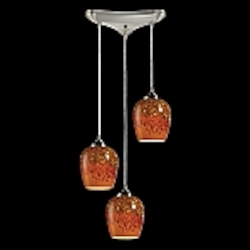 Claudio Collection Satin Nickel 3-Light Pendant with Autumn Glass 10145/3AUT