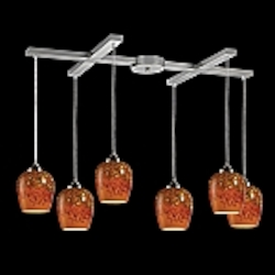 Claudio Collection Satin Nickel 6-Light Pendant with Autumn Glass 10145/6AUT